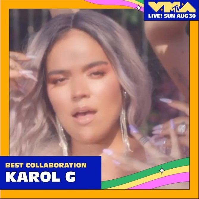 Karol G es la artista latina femenina con el mayor numero de nominaciones en los MTV Video Music Awards