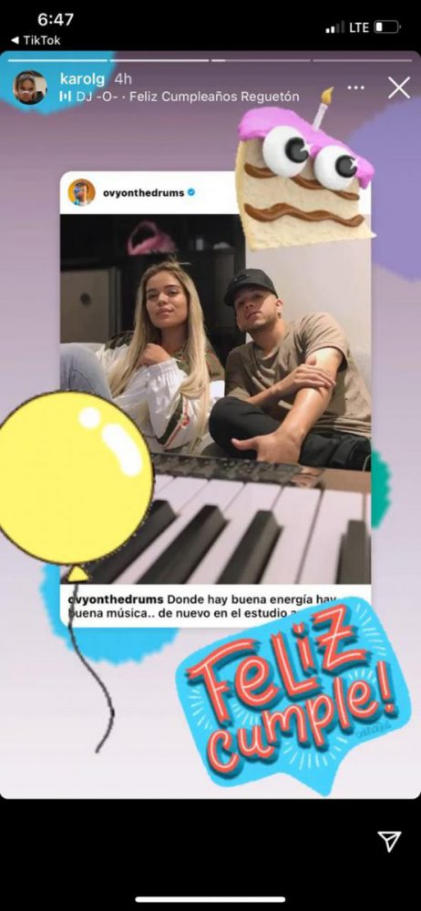 La dedicatoria de Karol G a Ovy On The Drums en su cumpleaños